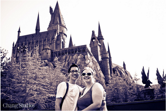 Rich and Leeann in front of Hogwarts Castle